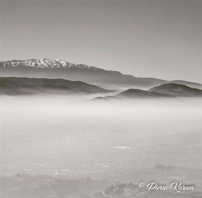 monochrome fog cloudy sky snowy mountain nature...