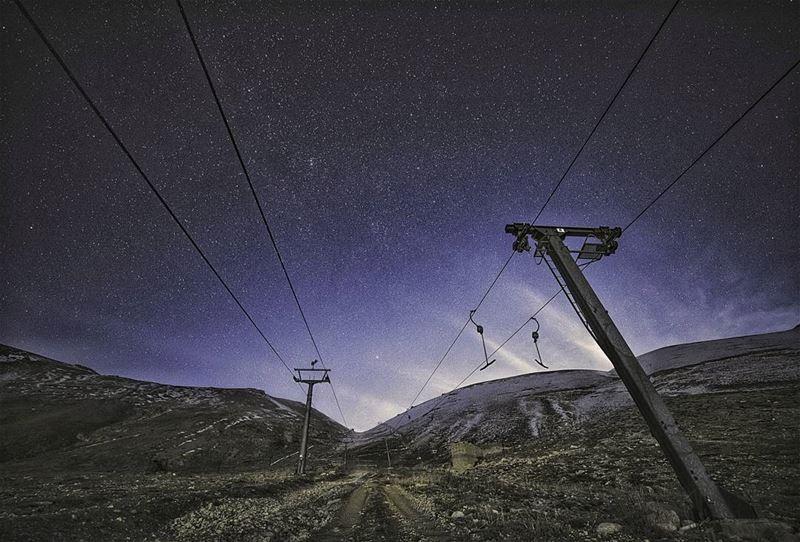 landscape abandonedplaces skilift astro stars nightphotography instaworld... (Téléskis des Cèdres - Cedars Ski Resort - Arz)