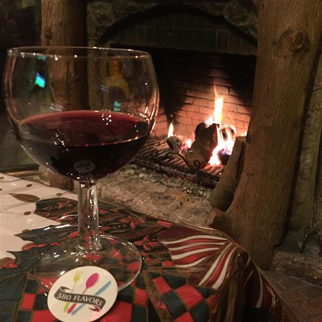 Red wine next to the chimney 🍷 in Ehden Best of the best 😍 ...... (Zorba Lodges - Ehden)