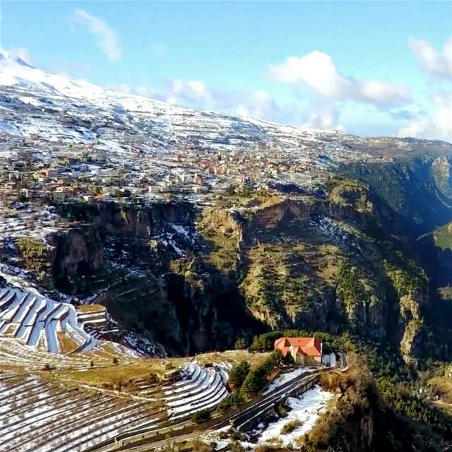 We've climbed the mighty mountain. I see the valley below, and it's a... (Qannoubine Valley)