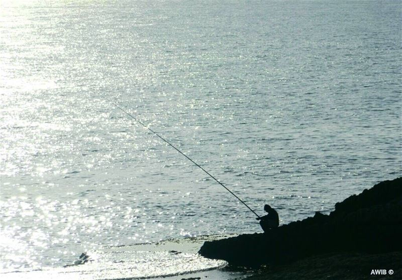 fishing  streetphotography  shadow  outdoors  guy  tourism  landscape ... (Pigeon Rock Beirut.)