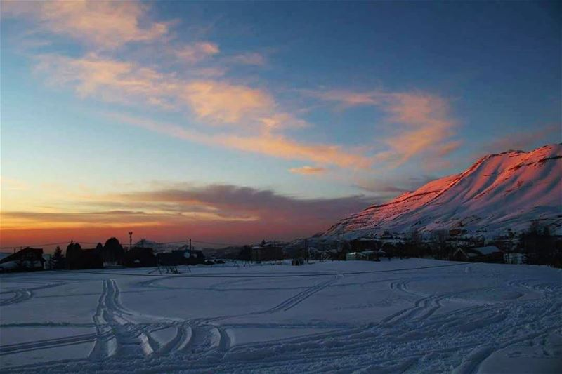 Kissing the mountains goodbye! snow sunset dusk mountains ... (The Cedars of Lebanon)