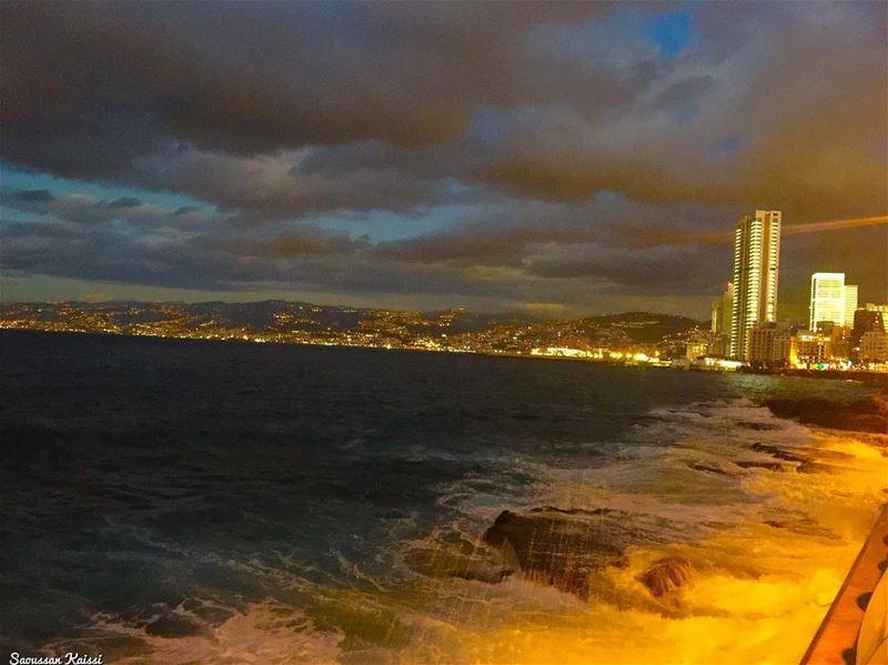 sunset sea waves sky clouds beirut ...
