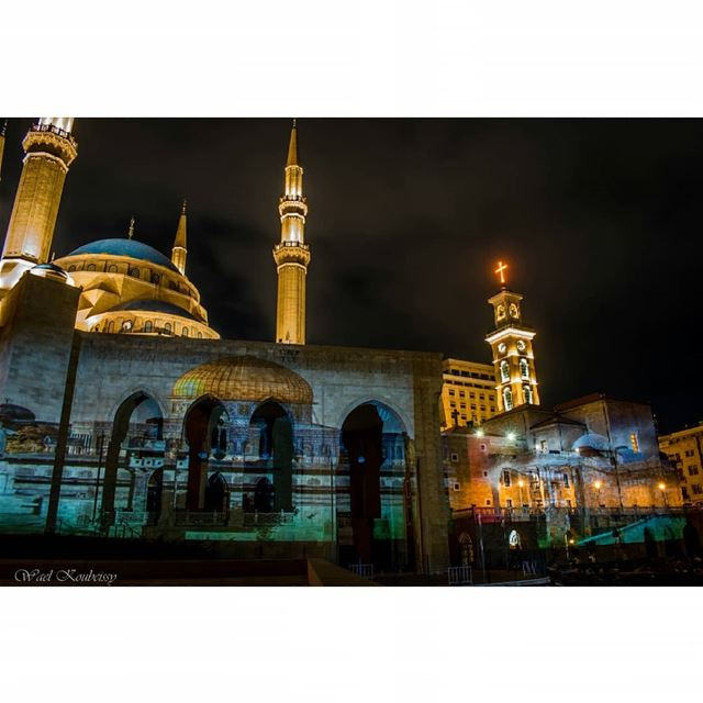 jerusalem illuminated in the heart of  beirut  mosque  cathedral ... (Downtown Beirut)