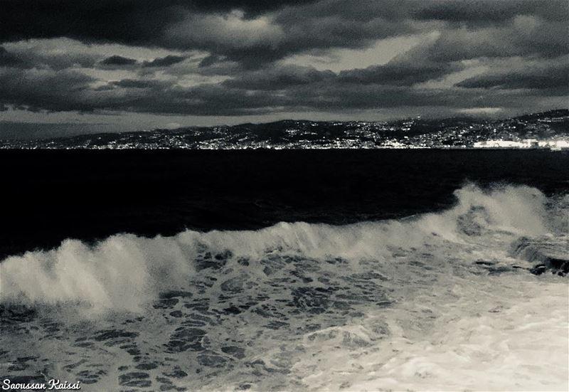 blackandwhite monochrome sea waves lights clouds sky beirut ...