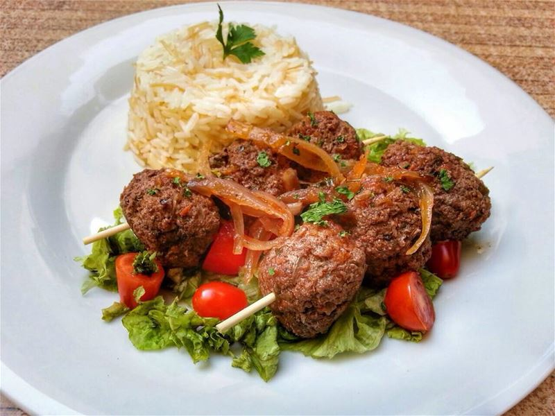 Kafta Meatballs and Mexican Chicken with Rice for Lunch today at Em's.... (Em's cuisine)