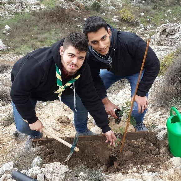 Volunteers participated in the areforestation activity at the Qehmez...