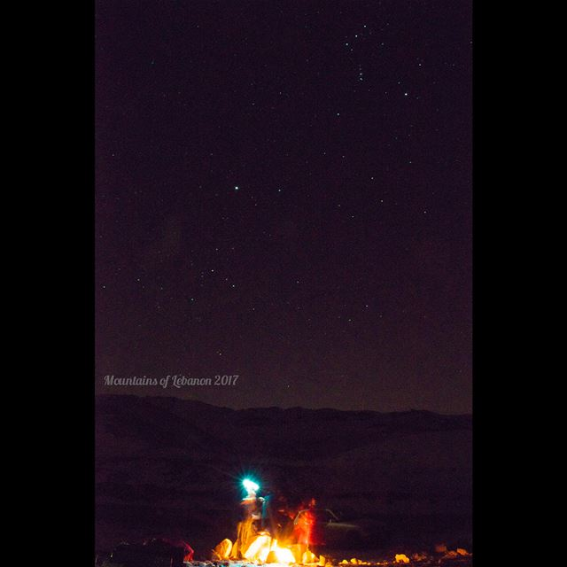 A bonfire while watching the Geminids meteor shower here Orion's Belt and... (Wardeh Kfardebian)