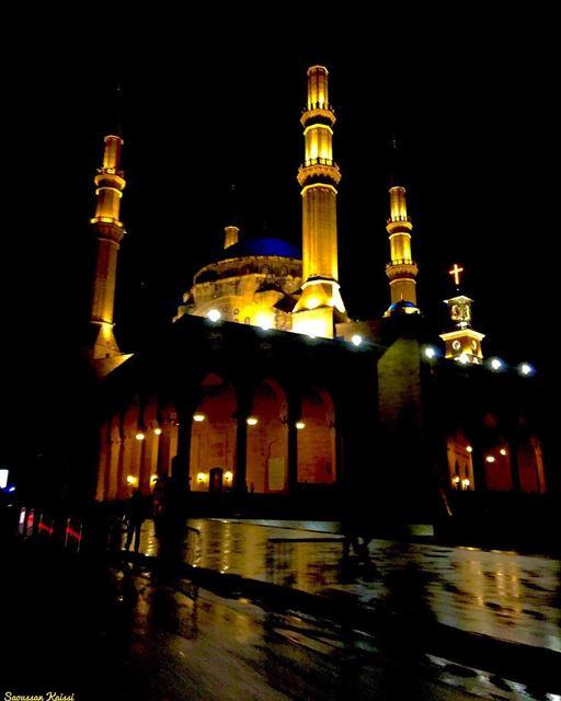 nightphotography rain church mosque downtown beirut lebanon ...