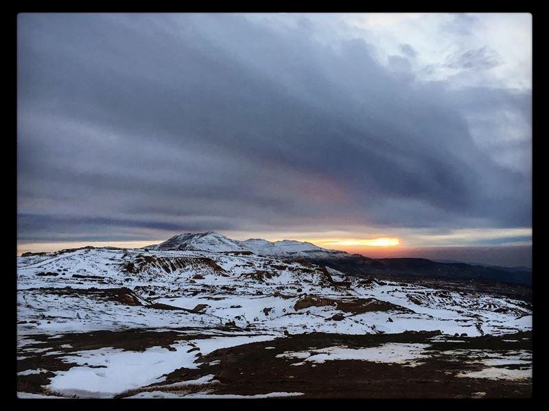 photography snowtime winter sunset sunsetsky landscape offroad lebanon... (Sannin, Mont-Liban, Lebanon)
