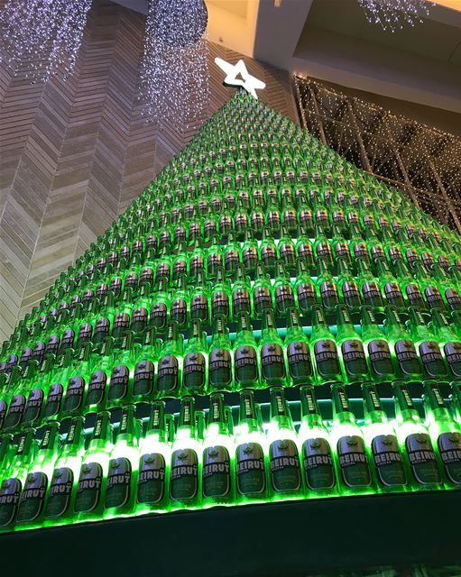 Beautiful 🎄 christmas beirutbeer tree beer lebanesebucketlisters ... (Beirut Souks)