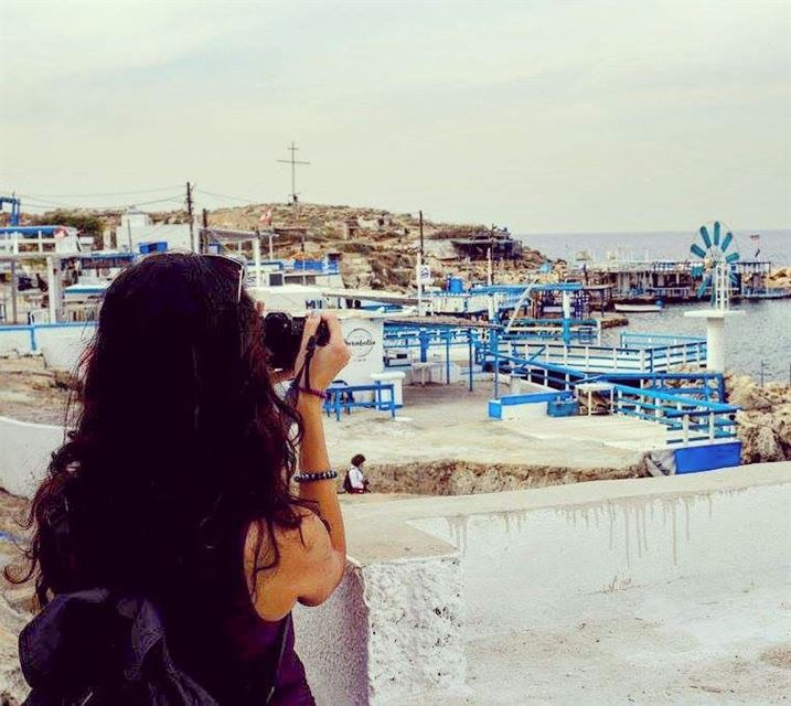 girl photographing water anfeh beach beautiful sea lebanon walk ... (Anfeh - Koura sea)