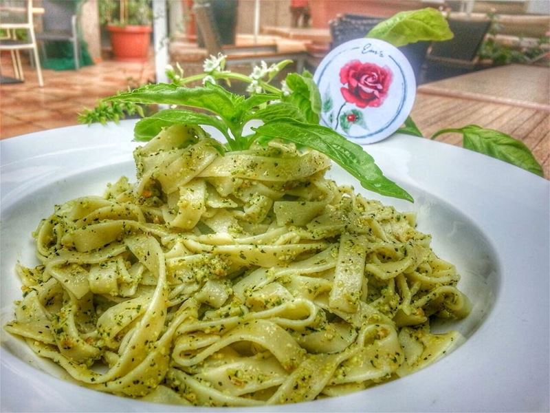 Tagliatelle with Pesto Sauce, Sheikh El Mehshe and Salmon Soup is on the... (Em's cuisine)