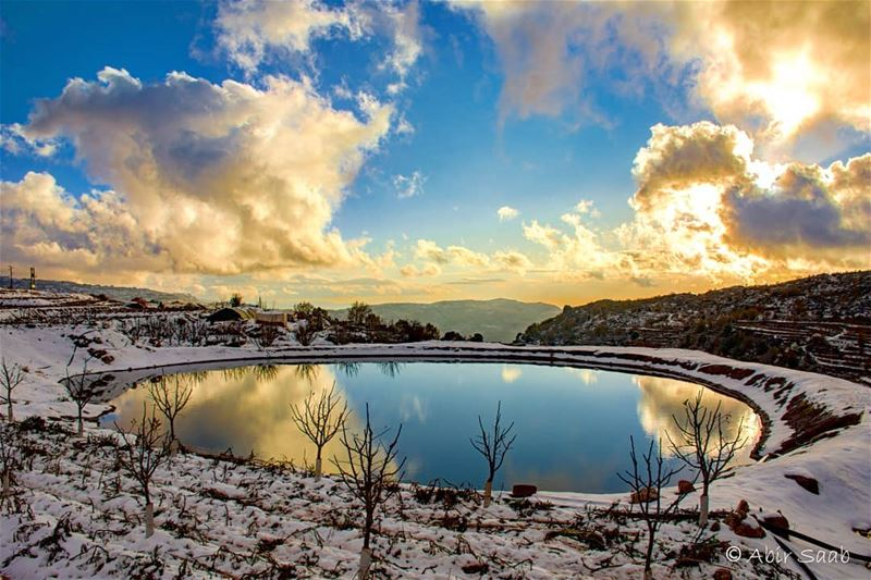 lebanon hrajel sunset angrysky pond clouds cloudy cloudysky ... (Hrâjel, Mont-Liban, Lebanon)