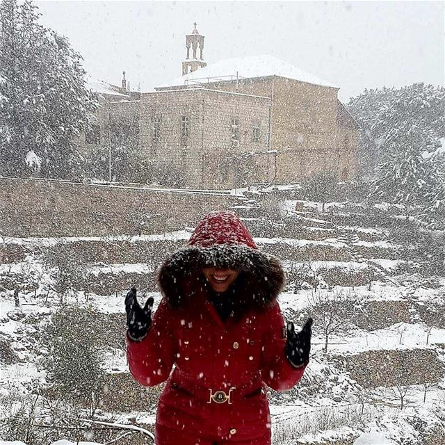 """There's just something beautiful about walking in snow that nobody else... (Beït Chabâb, Mont-Liban, Lebanon)"