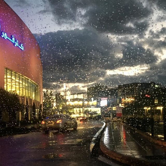 I love the rain. I love how it softens the outlines of things. The world... (Carrefour Lebanon)