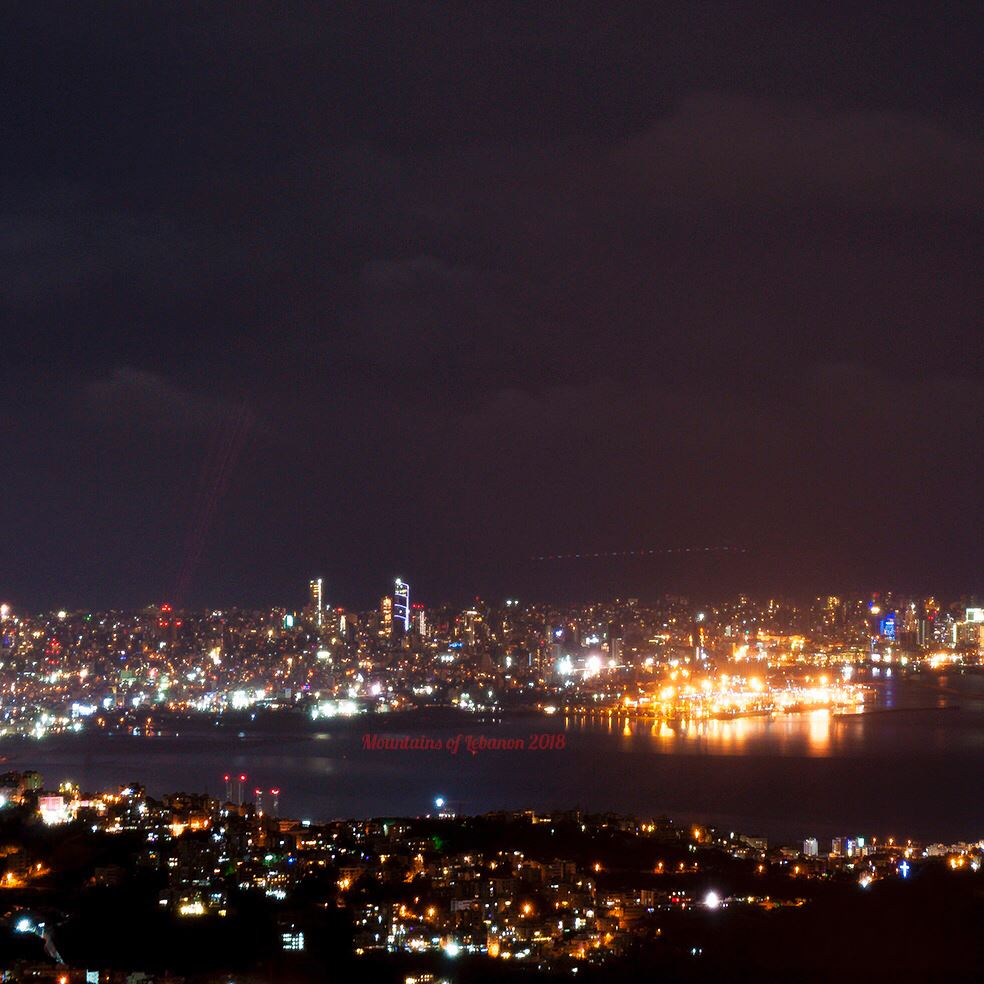 """Beirut """"special"""" laser and fire works... oh and an airplane passing...and... (Beirut, Lebanon)"""