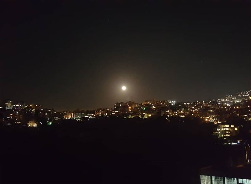 Hello beautiful 🌕 ........ fullmoon moon nightsky lebanon ...