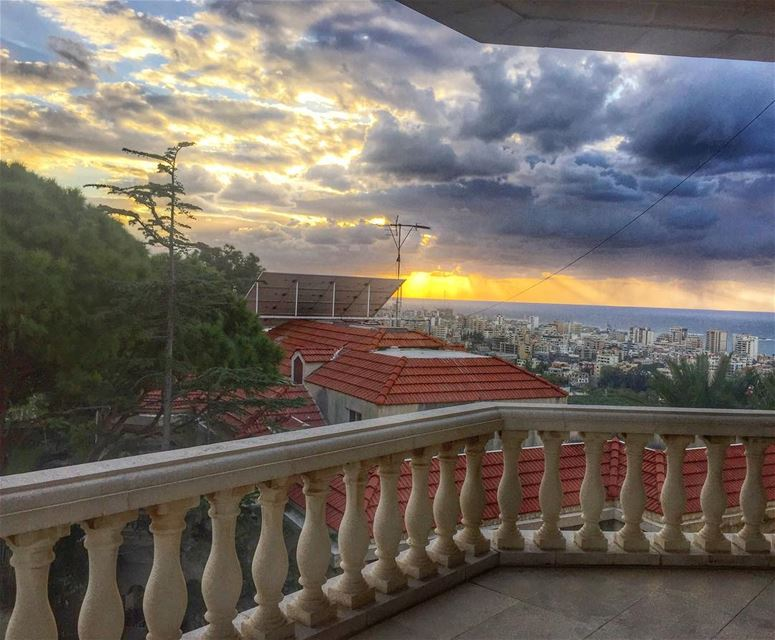 Sunset Mode.. saida lebanon sunset mode color view clouds architecture... (Bramiyé, Liban-Sud, Lebanon)