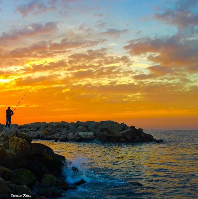 sunset sea colors fisherman waves beirut ...