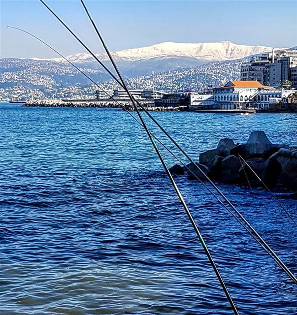 GoneFishing.. Beirut  fishing  sun  sea  snow  lebanon  beyrouth ... (Beirut, Lebanon)