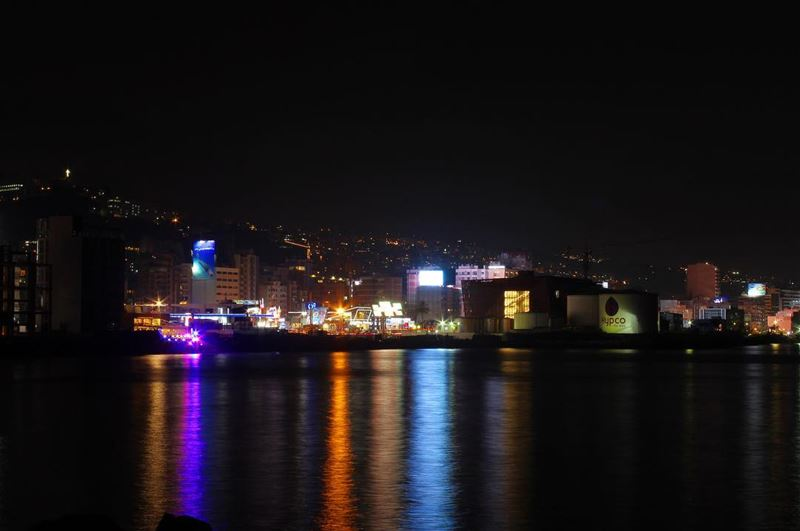 night sea lights water reflection longexposure outdoor nofilter ... (Dbayeh, Mont-Liban, Lebanon)