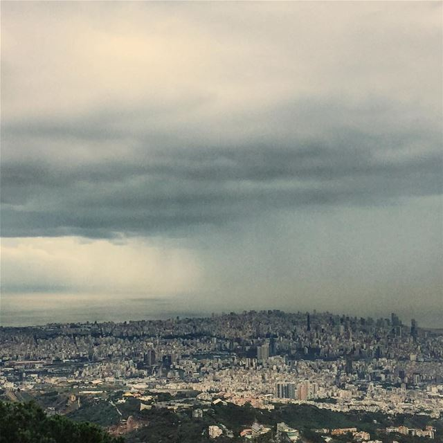 Localized shower over the peak of Beirut landscape seascape skyscape ...
