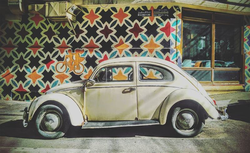 🍀🍀🍀 lebanon beirut gemmayze white old car livelovelebanon... (Gemmayze Gem)