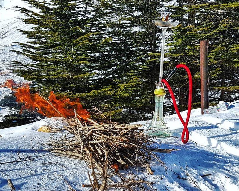 Arguileh/Shisha at the top shisha snow mountain fire improvise ...