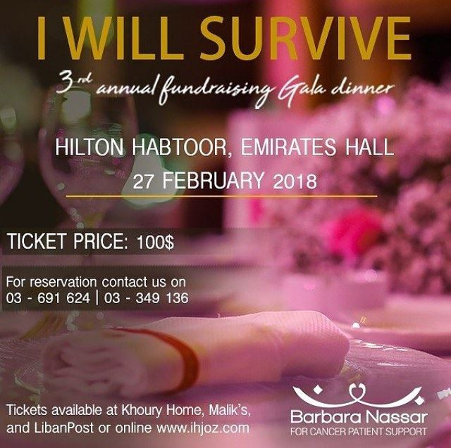 Barbara Nassar Association was founded to support adult cancer patients,... (Hilton Beirut Habtoor Grand)