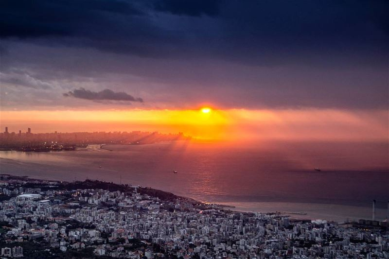 The golden hour | Beirut and Jounieh at the last moments of Sun after the... (Harisa, Mont-Liban, Lebanon)