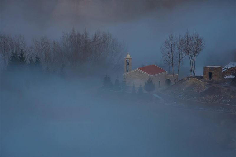 Behind the mist a house of god... taken from laklouk tannourine road ...