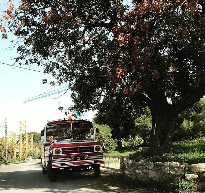 lebanon beirut livelovebeirut bus dodge vintage old red white blue sky... (Beirut, Lebanon)