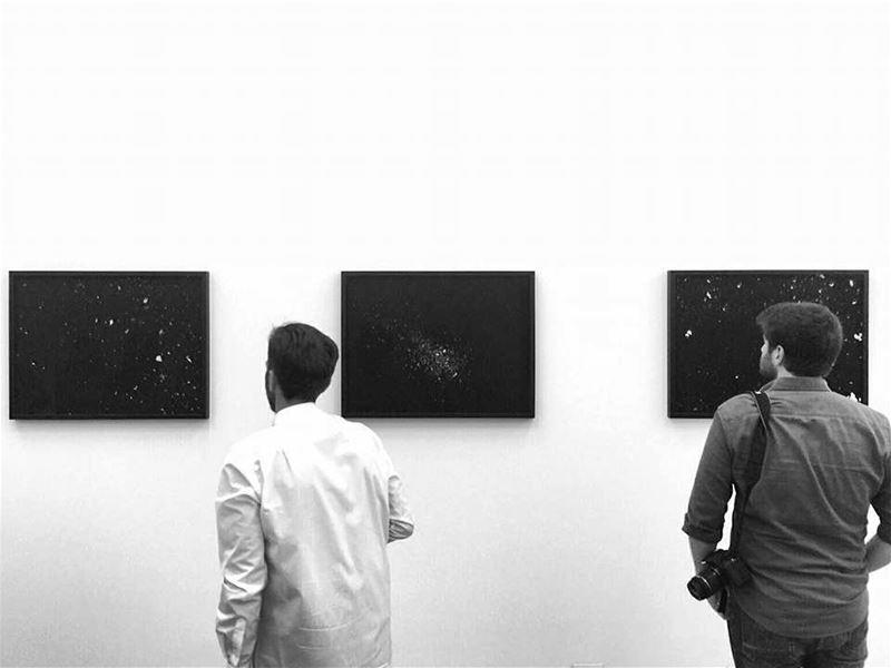Contemplating 🌚 blackart whitespace curiousboys artexhibition beirut...
