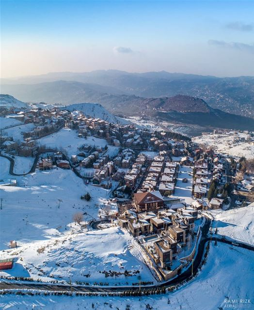 The Snow Village ❄️🏠... mzaar kfardebian lebanon dji drones ... (InterContinental Mzaar Lebanon Mountain Resort & Spa)