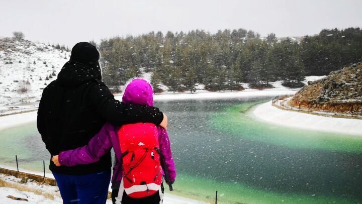 hiking under the snow LetItSnow Hiking Barouk Cedars Lake Lebanon �