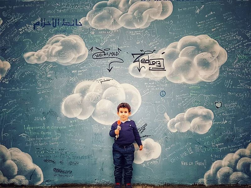 ...because he was  adream 💙 wallofdreams  حائط_الاحلام ☁️.......... (Trainstation Mar Mikhaël)
