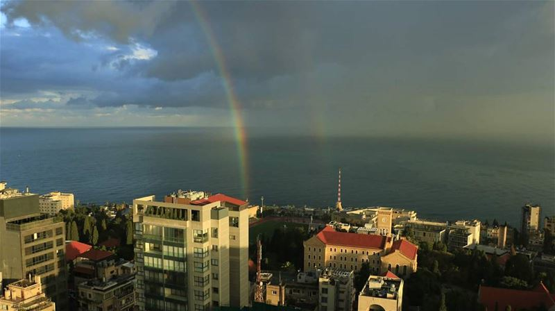 Double rainbow over the city... thisislebanon79 viewbug ... (Hamra, Beyrouth, Lebanon)