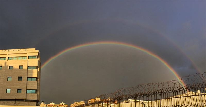 rainbow doublerainbow morning color colour unitedcolors of lebanon ... (بيروت جناح)