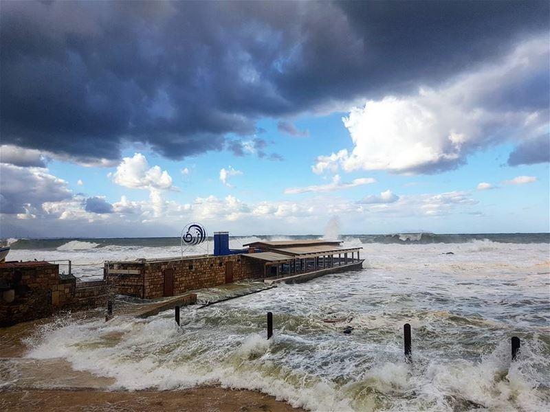 Rage on🌊... livelovebyblos livelovebeirut bylos lebanon storm sea... (Al Azrak-Jbeil)