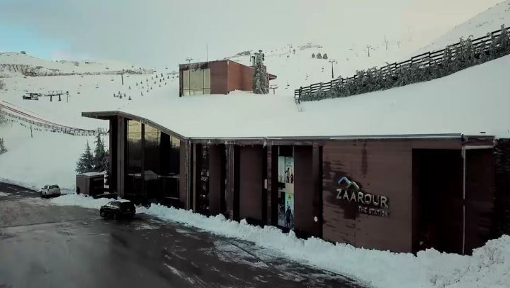 Here comes the white @zaarourclub snow season zaarour drone ski ... (Zaarour Club)