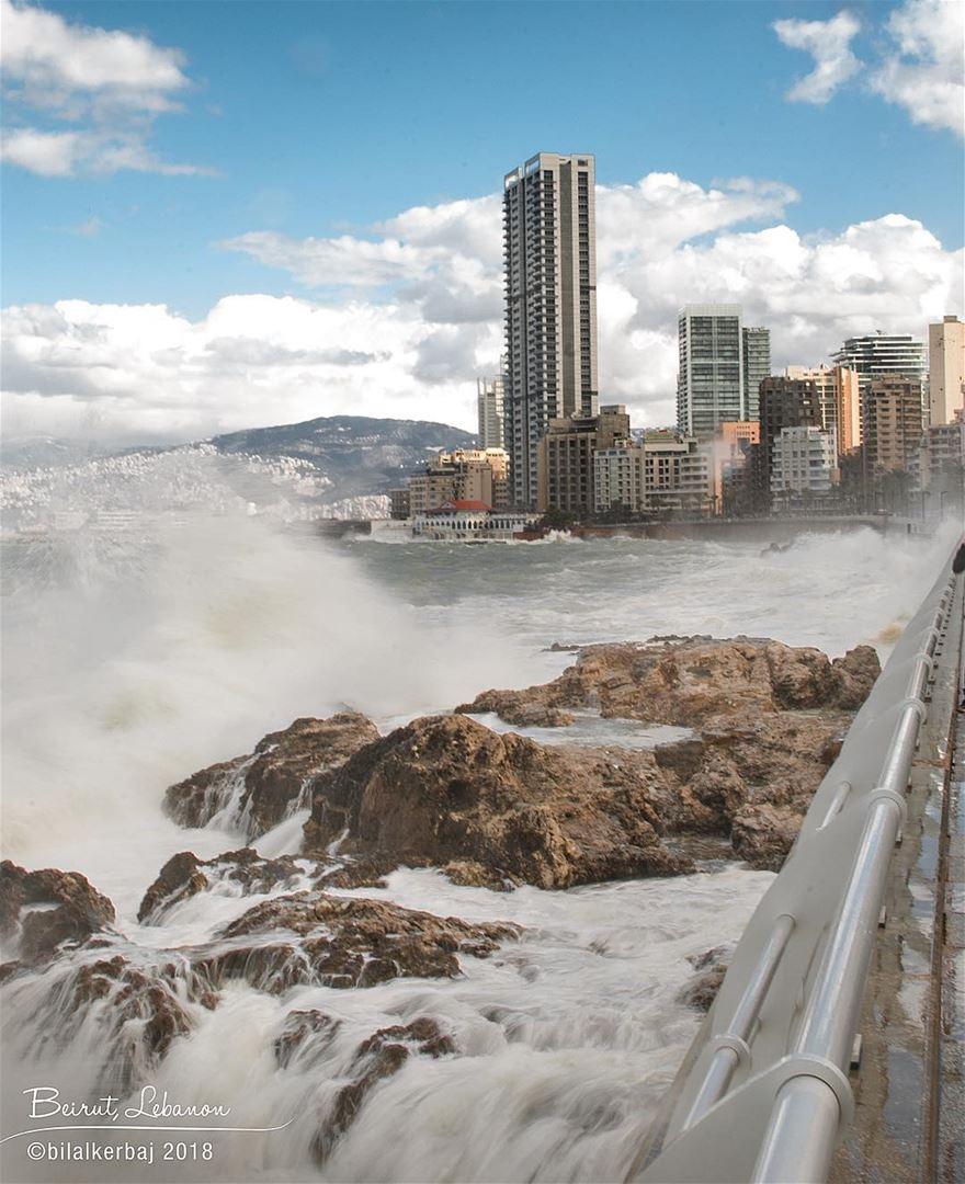 Earlier today... 🌊————————————————- beiruttoday beirut lebanon ... (Beirut, Lebanon)
