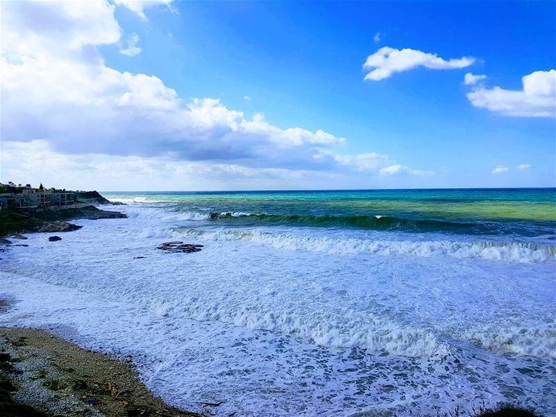 Winter's shades of blue winter sea color waves beach amazing ... (El Madfoun Beach)