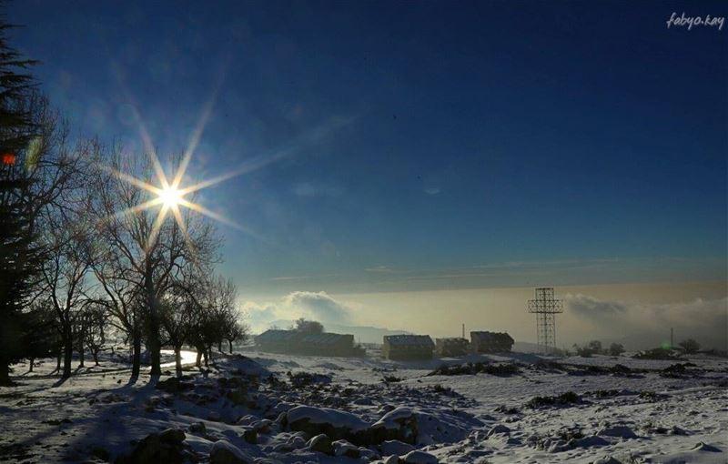 The sun breaking through the fog and mist over the montain... (Qanat Bakish, Mont-Liban, Lebanon)