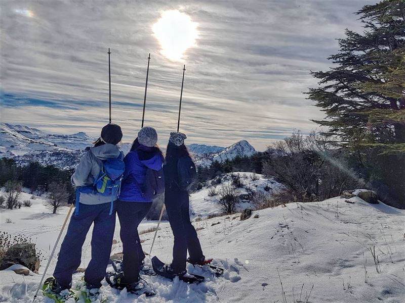 friends,  snow,  sun, happy way to fun! ❄✌ breaktheroutine  mylebanon.... (Arz Tannoûrîne)