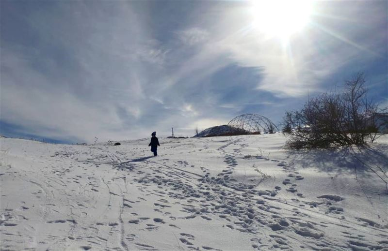 There's just something beautiful about walking in snow that nobody else... (Kfardebian,Mount Lebanon,Lebanon)