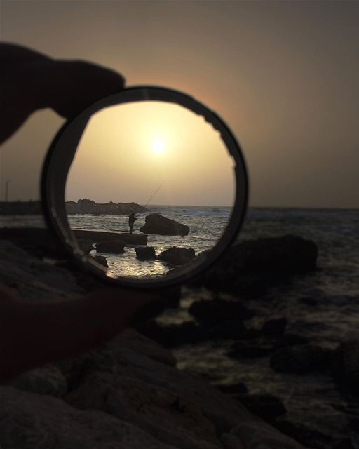 In focus.... beforethestorm sea fish fisherman sunset cold ... (Jbeil جبيل)