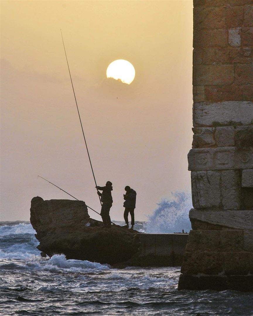 Jbeil: admiration....Waves crashed straight into them, and they didn't... (Jbeil جبيل)