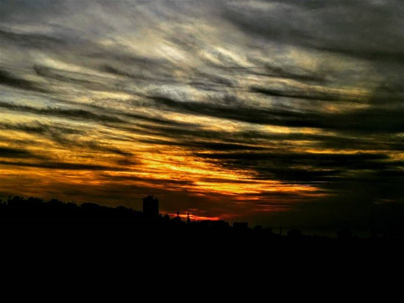 S• U• N• S• E• T 😍 sunset winter clouds cloudy sky lebanon lebanese... (عين سعادة)