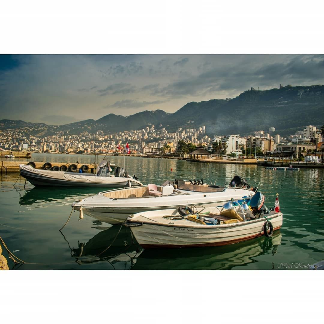 jounieh lebanon blue sky clouds mountain buildings city sea ... (جونية - Jounieh)